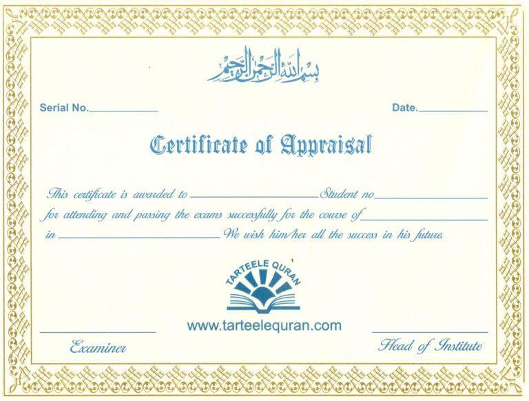 Certificate of Appraisal by TarteeleQuran - Learn Quran Online